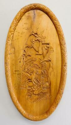 Beautiful Antique Oriental Chinese? Carved Wooden Wall Panel 1900s