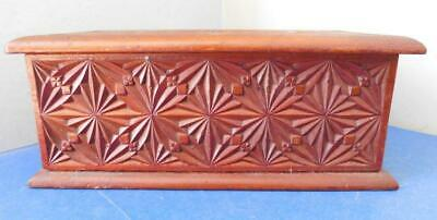 Beautiful Antique Australian Crisply Chip Carved Wooden Box 1900s