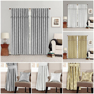 Heavy Jacquard Fully Lined Pencil Pleat Tape Top Pelmet Curtains With Tiebacks
