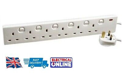 6-Way Switched Extension Lead - Six Gang Multi Plug Socket - White Power Cable