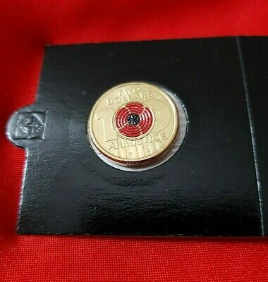 2018 $2 Dollar Coin - Remembrance  Armistice Day Red Poppy 1x coin from Satchel