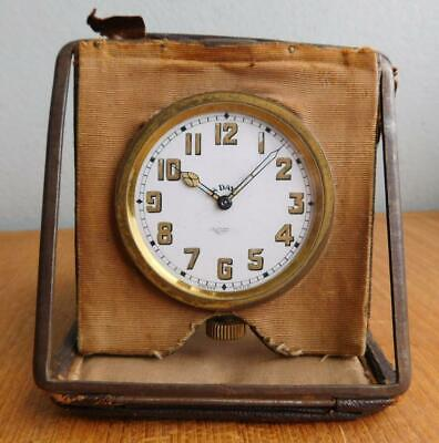 Antique Leather Clad 8 Day Swiss Travel Clock Drummonds Jewellers Melbourne 1900