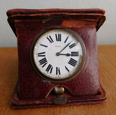 Antique Leather Clad OCTAVA WATCH CO 8 Day Swiss Travel Clock 1900s