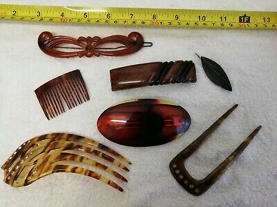 Selection Of Vintage Hair Combs/Slides and a brooch bakelite tortoiseshell