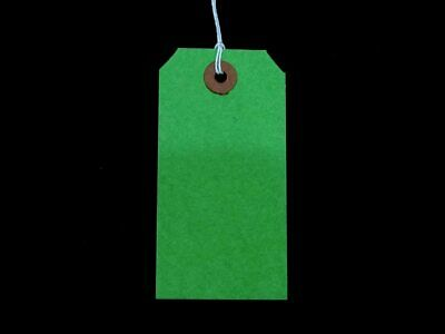 Green Strung Tags 120 x 60 mm String Tie on Parcel Label Ticket 120mm x 60mm ST5