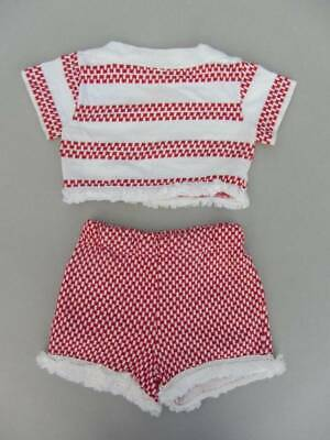 Vintage 40's top and shorts toddler age 3-4 red cotton beach baby