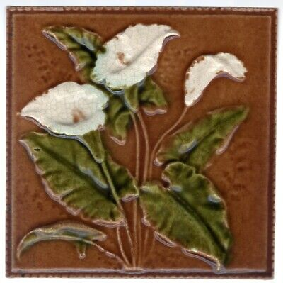 Decorative Art Tile Co. - c1887 - White Arum Lilies - Antique Victorian Tile
