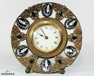 Victorian Mary Gregory Glass Mounted Mantle Clock c.1880
