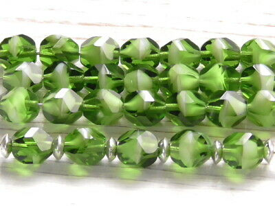12-8x6mm CZECH PEACH PERIDOT GREEN FACETED FIRE POLISHED RONDELLE GLASS BEADS