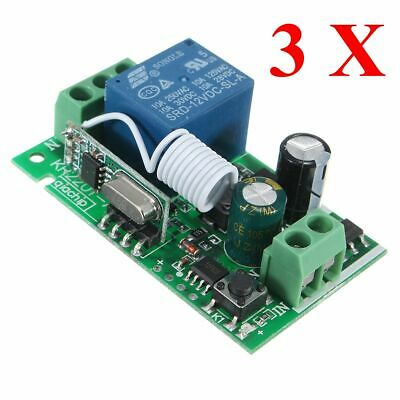 3PCS 315MHz 220V 10A 1CH Channel Wireless Relay Remote Control Switch Receiver