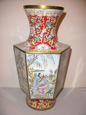 "Antique Chinese 12"" enamel enameled hand painted 6 panels on  copper ? vase"