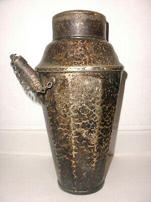 Antique arts crafts nickel silver Cocktail Shaker Jos.Heinrichs NY hammered 1910