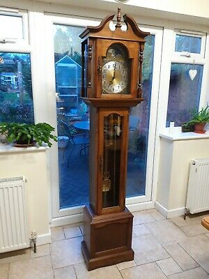 Emperor clock company Grandmother clock. Three weight and moon phase.