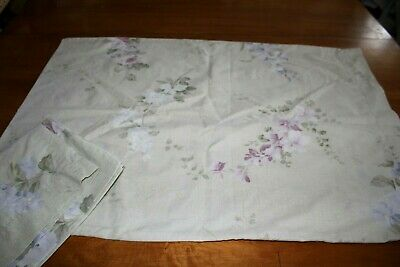 Pillowcases Pink Purple White Floral on Sage Green Cotton Blend Standard Pair