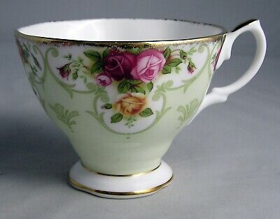 "2003 Royal Albert ""Rose Cameo Green"" Bone China CUP ONLY Gold Trim"