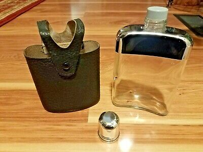 Vintage Harness House Glass Flask Case Screw On Cap & Cup