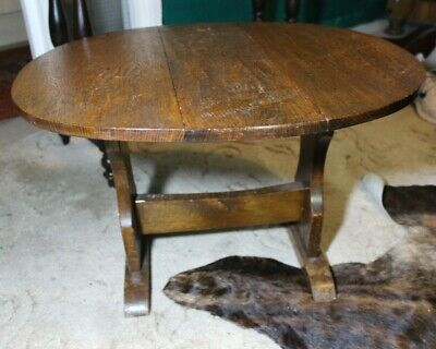 Small Antique Oak Drop Leaf Coffee Table Occasional Childs Night Stand Side