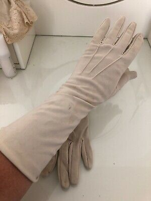 Cream opera gloves - soft nylon - size 7.5
