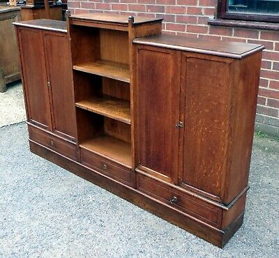 Victorian antique Arts & Crafts solid quarter sawn oak library bookcase & keys