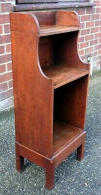 Edwardian Arts & Crafts antique solid oak compact open bookcase book shelf stand