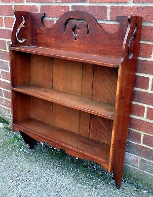 Edwardian antique Arts Crafts Shapland & Petter quarter sawn oak shelf bookcase