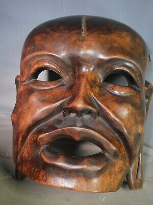Antique Hand carved exotic Wood Chinese Theater Mask OVER LIFE SIZE Sculpture