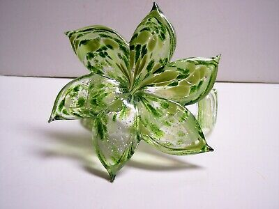 Large  Italian  Blown Glass Flower Murano Curled Stem Green W/Silver Inclusions