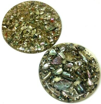 2 VTG Shellart Retro Abalone Home Decor Shell Art Recycled Plastic Coasters Set