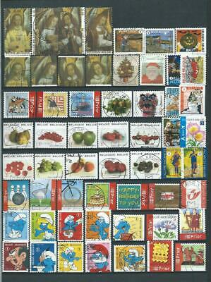 Belgium : Album Page Different Recent Used Stamps In Euro  With The Smurfs