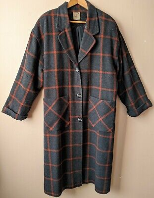80s Vintage Coat Oversized Checked New Wave Blogger Hipster 12 14 16 16-18 Long