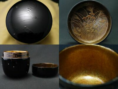 Japan Lacquer Wooden Tea caddy a Field in Autumn Natsume Day and Night (1105)