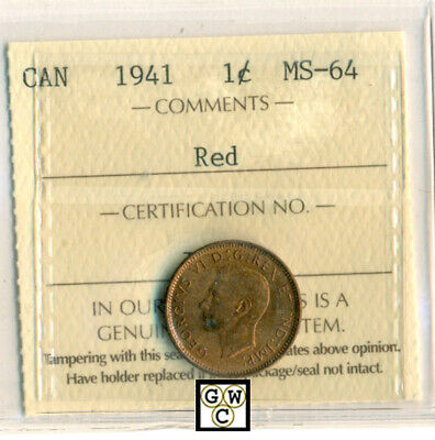 ICCS Canada 1941 1cent Coin ; MS-64   Red ; Certification No- IG 220 ;LHM