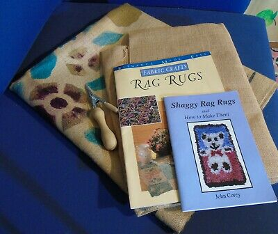 Rag Rug making equipment - tool, plain and printed hessian, 2 instruction books