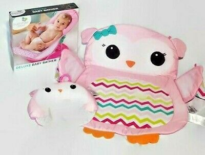 Summer Infant Deluxe Baby Bather Bath Sling + Owl Tummy Time Playmat Pink
