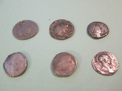 Lot of 6 Roman Denarius Silver coins, uncleaned and un-researched 18-22mm