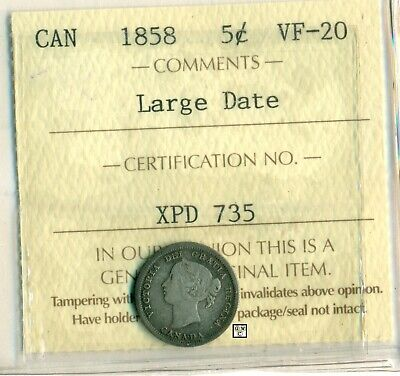 ICCS Canada 1858 5cent Coin ; VF-20  Large Date  ; Certificate No.- XPD 735 ;LHM