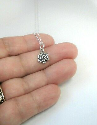 """Sterling Silver Small Rose Charm Pendant Necklace 16 or 18"""", Gift Box"""