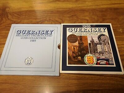 1985 Guernsey 7 coin uncirculated set including one pound coin