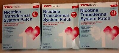 3 CVS Nicotine STEP 1 Transdermal System Patch 14 Patches Each Exp 02/20 READ
