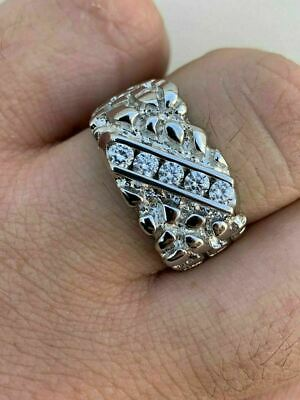 Mens REAL Solid 925 Sterling Silver Diamond Nugget Ring Sz 7-13 Pinky Super Iced