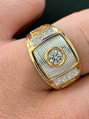 Men's 14k Yellow & White Gold Over Solid 925 Silver Ring ICY Diamond W. Cross