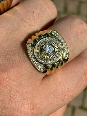 Men's 14k Gold & Real Solid 925 Silver Big Diamond RING Iced Icy Large Pinky