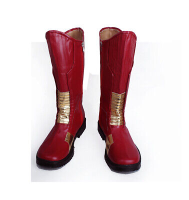 The Flash Barry Allen cosplay Red Leather Boots Shoes Cosplay Custom Made