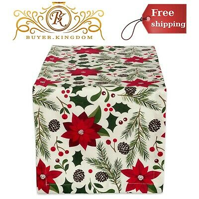 Cotton Printed Kitchen Table Runner Whimsical Christmas Table Cloth Dinner Party