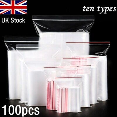 Small Clear Grip Self Press and Seal Resealable Polythene Zip Lock Plastic Bags