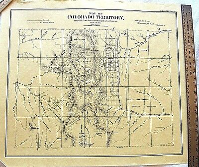 """Colorado Territory Map 1861 Reproduction Unframed 20.5"""" x 17.25"""" Rare Vintage"""