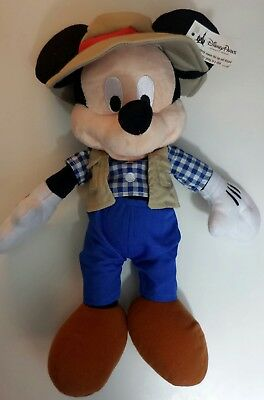 "Disney Parks Mickey Mouse 15"" Gone Fishing Plush New Vest Cute Stuffed Plaid"
