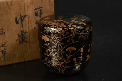 A1202: Japanese Wooden Lacquer ware TEA CADDY Natsume Chaire Container w/box