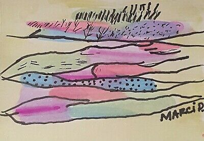 Aceo Outsider Brut Art By Bipolar Artist Marci D. Abstract Watercolor Painting