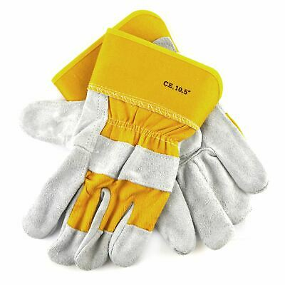 Leather Work Gloves 10.5'' Protective Wear Safety Builders Cuff Fleece Lining